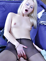 Blonde upskirt maid gets licked and dicked thru her black crotchless tights