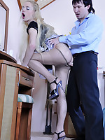 Long-haired blond maid gets talked into a pantyhose quickie with her master
