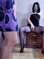 Wanton lesbo in fashion hose made to blow and take up a girlie strapon cock