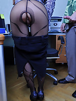 Raunchy secretary in open crotch fashion hose gets fucked for a big cumload