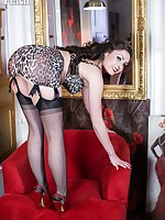 Sophia is really dressed up in a silk dress and fabulous rare vintage leopard print lingerie and black RHTs!