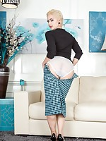 Nina strips off her typing pool sweater, oh-so-tight little pencil skirt and shiny top RHTs!