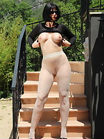 Black suit on Pantyhose Diva