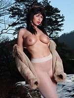 Pantyhose Diva covers her body with a jacket